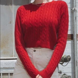 Brandy Melville Olsen Red Cable Knit Sweater